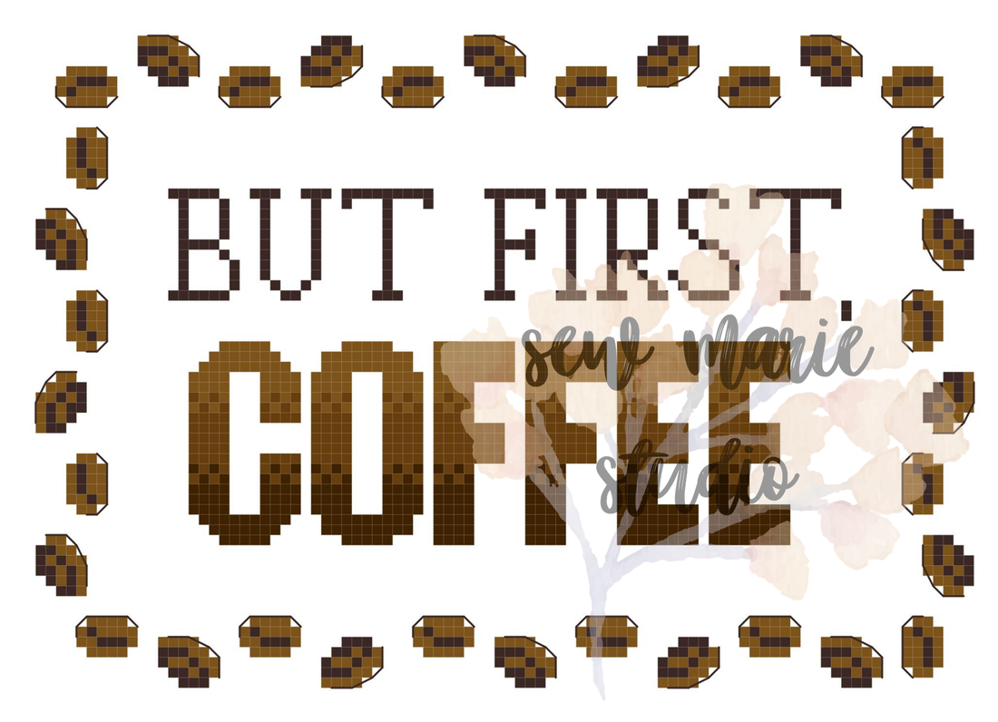 But First Coffee Cross Stitch Pattern by Sew Marie Studio