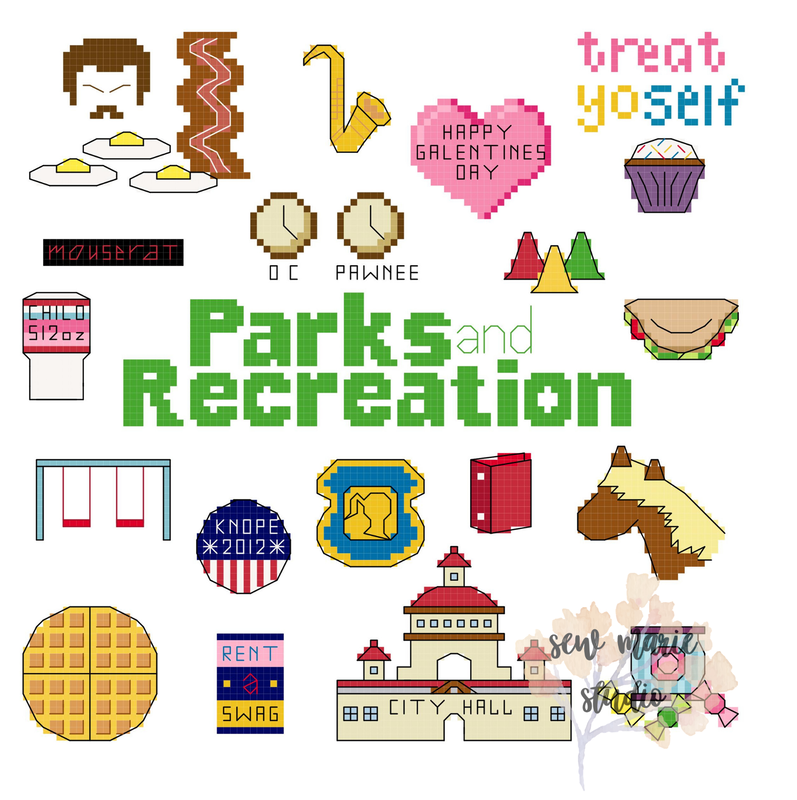 Parks and Recreation Cross Stitch Pattern by Sew Marie Studio
