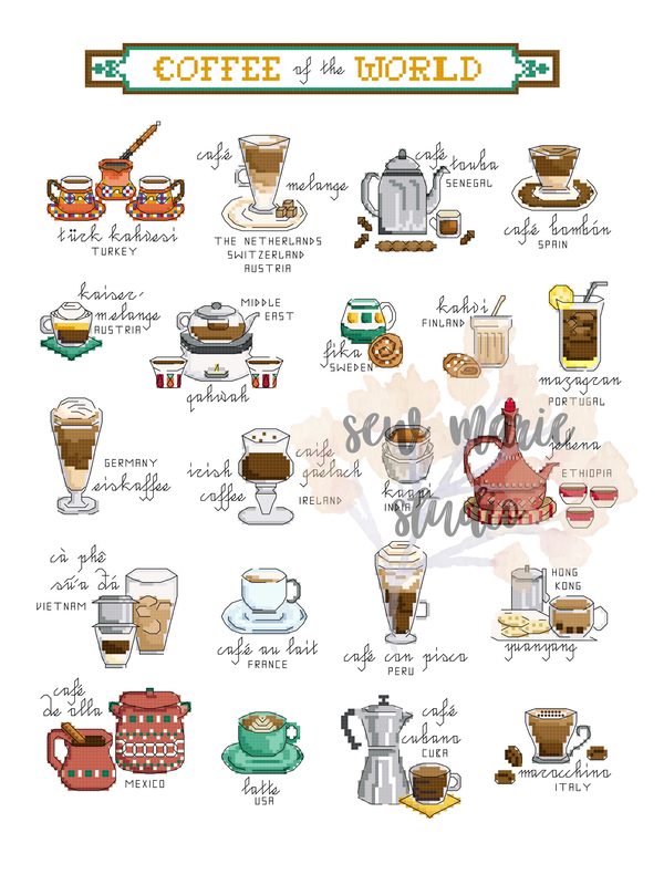 Coffee of the World Cross Stitch Pattern by Sew Marie Studio